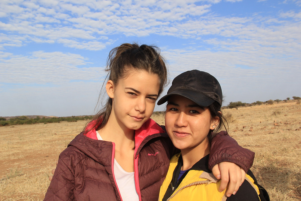 Adi (Israel) and Shamsia (Afghanistan) pose during one of our morning game drives.