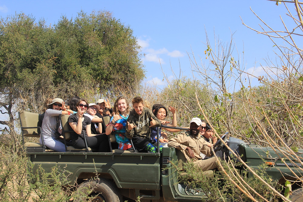 TGS students searching for a lioness that was hunting near our camp.