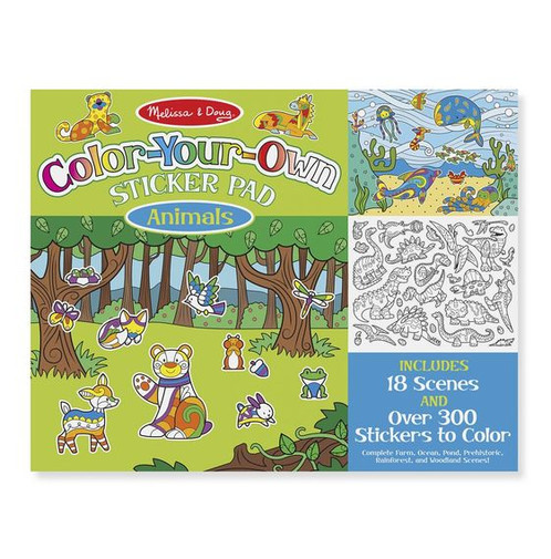 Bring to life a farm the deep blue ocean a vibrant pond a prehistoric landscape a lush rainforest and a woodland forest with this sticker and coloring