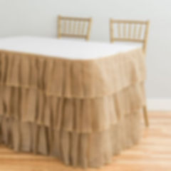 Burlap table skirt