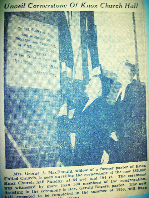 1949 Newspaper Clipping re. Knox Hall Cornerstone