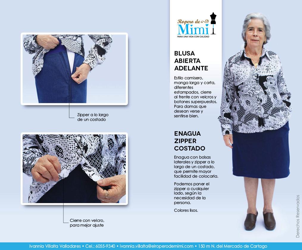 Blusa abierta adelante y enagua con zipper al costado
