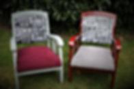sièges poncés et laqués création d'un tissu . SABINE PEDRERO TAPISSIER DECORATEUR