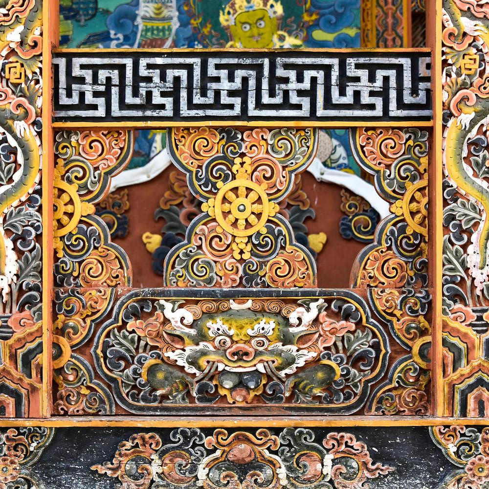 Detail of wall, Punakha Dzong, Punakha, Punakha Valley, Punakha District, Bhutan