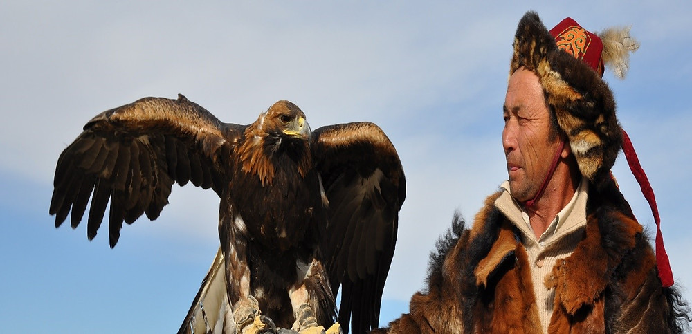 Kazakh eagle hunter (berkutchi) in Olgii, Mongolia
