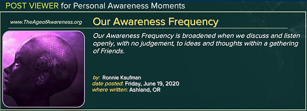 Post: Our Frquency of Awareness