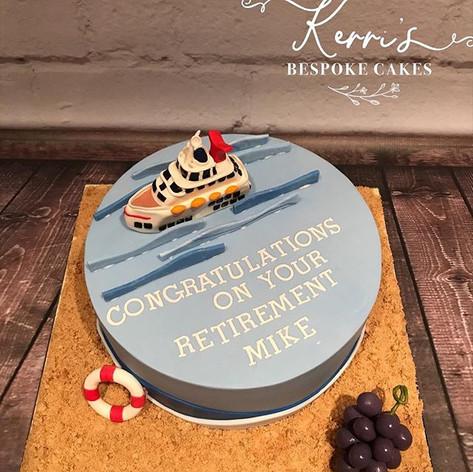 Cruise ship retirement cake