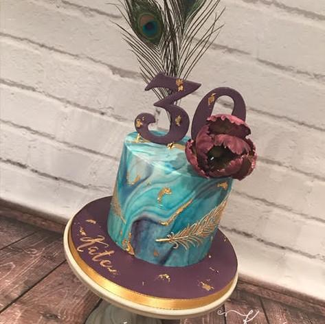 peacock themed birthday cake