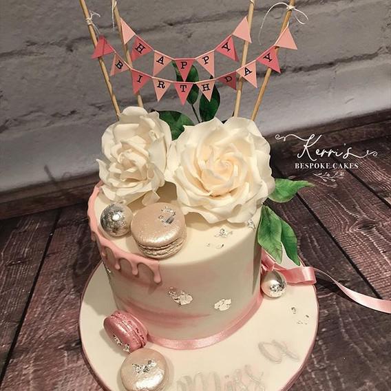 Elegant pink and silver birthday cake