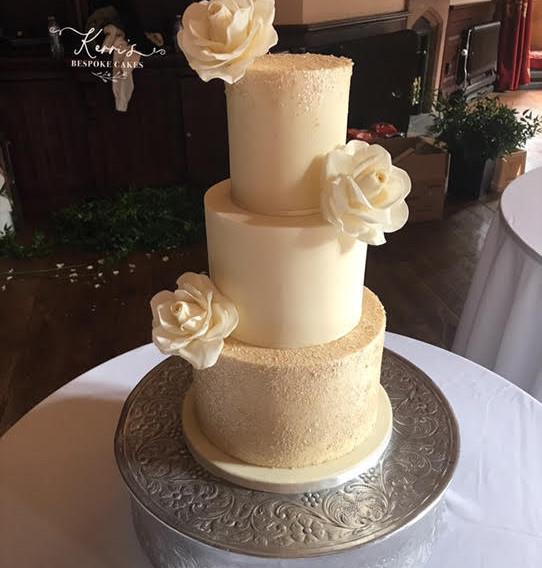 cream and champagne wedding cake