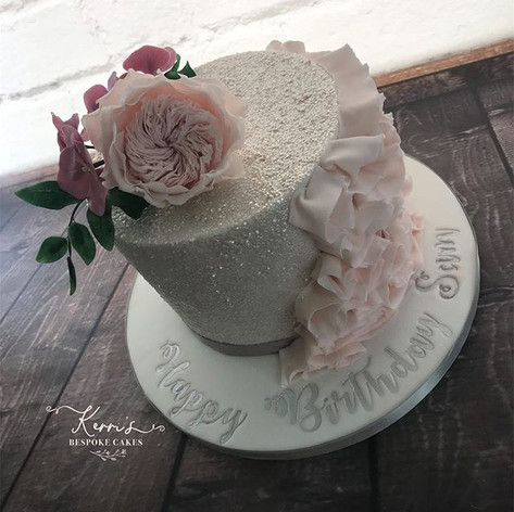 Glitter ruffle cake