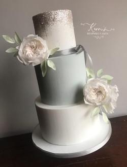 Blue sparkle wedding cake