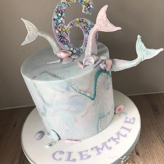 Mermaid theme birthday cake