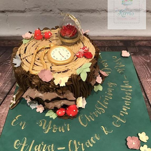 Alice in Wonderland tree christening cake