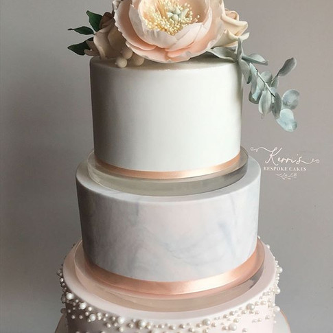 Peach and grey marble wedding cake