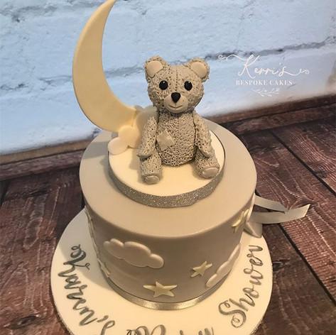 Grey neutral baby shower cake