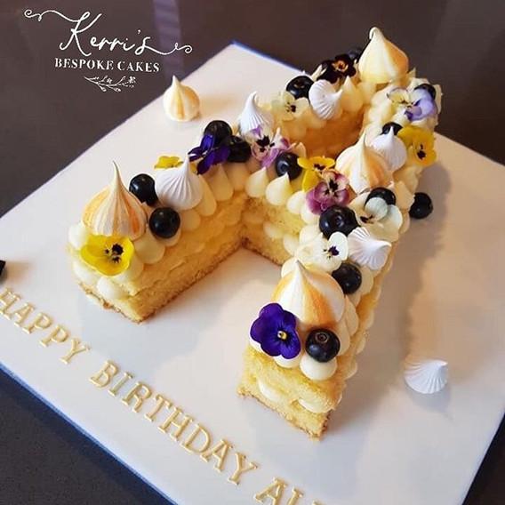 Lemon and Blueberry letter cake