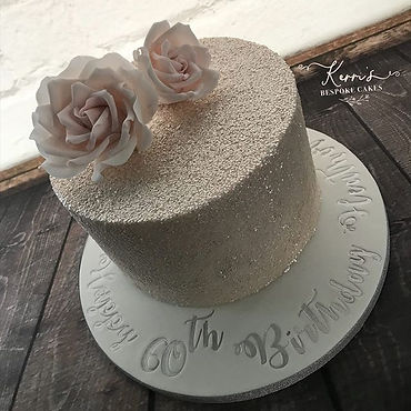 Blush pink sparkle rose cake