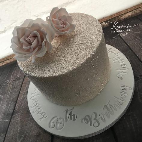 Blush pink sparkle rose cake