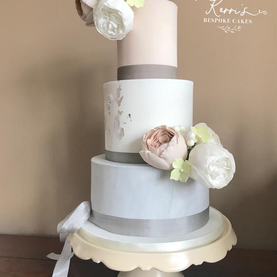 Blush grey wedding cake
