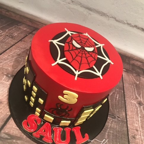 Red Spiderman cake