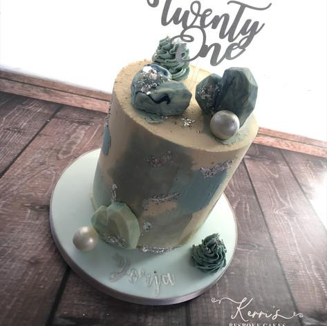 blue textured watercolour buttercream cake