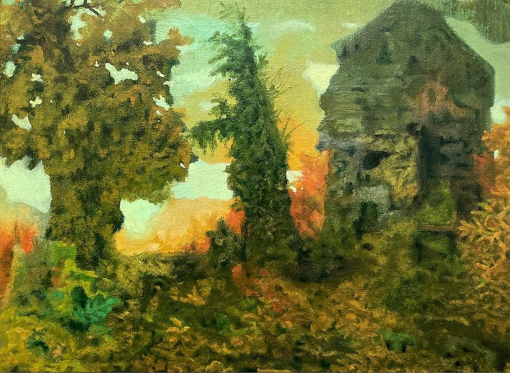 Noderer painting landscape Lois Johnson Memorial Daycare Center, Oil on Linen, 11 in x 14 in, 2020