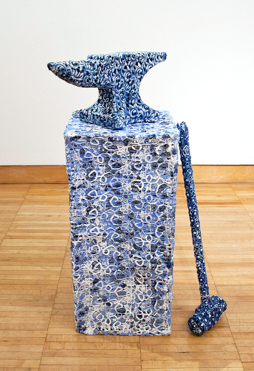 Hammer and Anvil, 2013, porcelain, hardware cloth and earthenware Betsy Alwin Sculpture