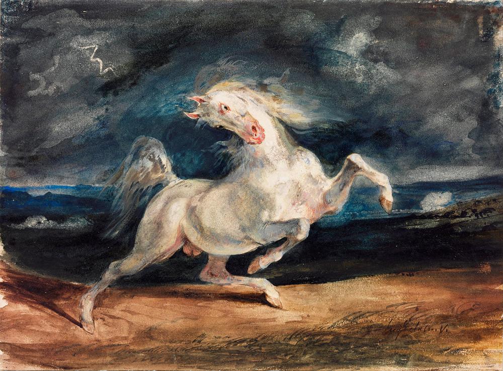 Eugene Delacroix, Horse Frightened by Lightening, Watercolor, 1824