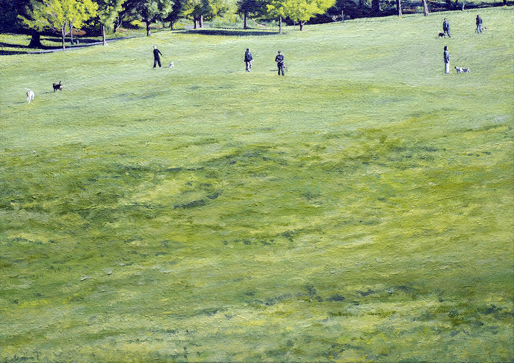 Prospect Park (Dogwalkers), 2011, Oil on Canvas Mounted on Panel12 x 17 inches Meuschke Painting Landscape