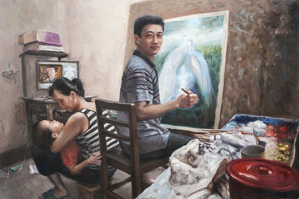 "Painter #11 (Jian Hua), Oil Paint over Inkjet Print on Canvas, 30"" X 45,"" 2013 Briggs"