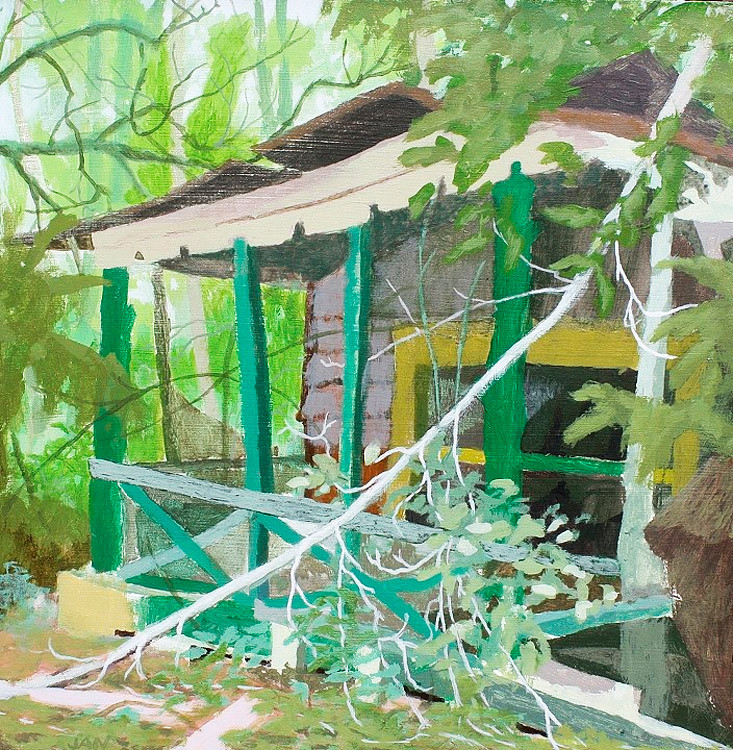 Untitled,  Acrylic on Wood Panel, 12 in x 12 in, 2011 landscape shack painting