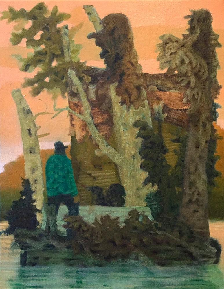Older Boggy Lite, Oil on Linen, 11 in x 14 in, 2019 noderer painting