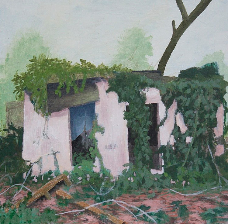 Pink Motel, Oil and Acrylic on Wood Panel, 12 in x 12 in, 2010 noderer landscape painting