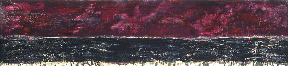 Horizon I, 1993, oil on canvas mounted on panel, 18 x 90 inches