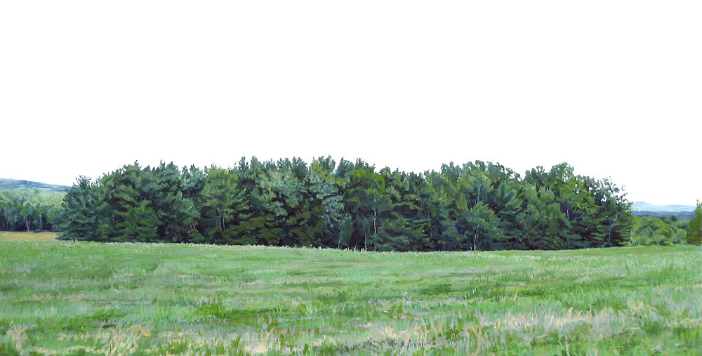 Maine Farm, 2006, oil on panel, 12 x 24 inches Frank Meuschke Landscape Painting