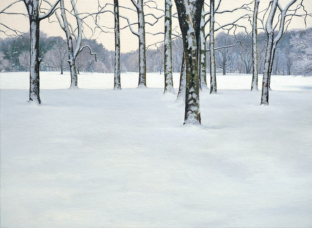 Prospect Park, 2015, oil on canvas mounted on panel, 18 x 27 inches Frank Meuschke Landscape painting
