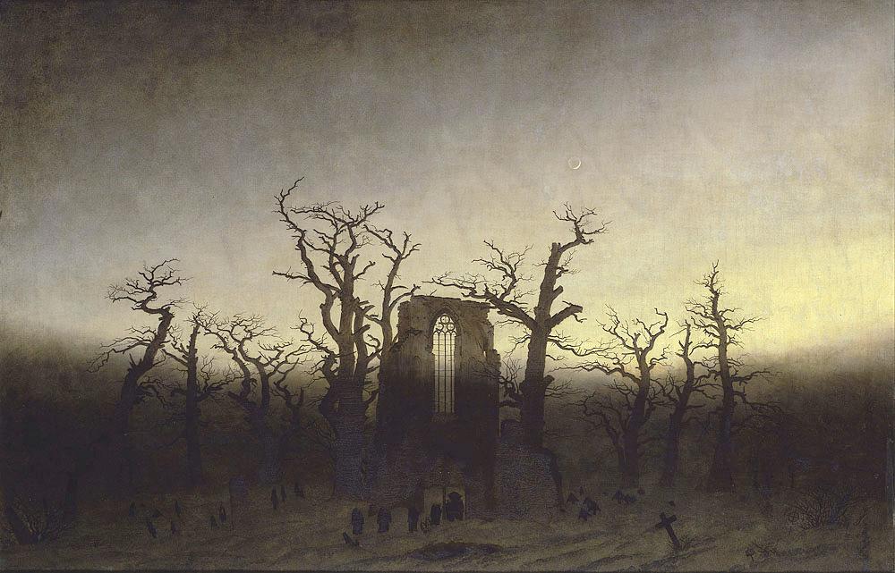 Caspar David Friedrich, The Abbey in the Oakwood, 1810 painting