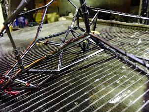 welding pieces together.