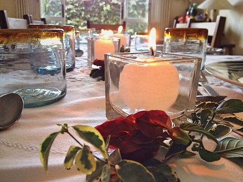 Vela de mesa, vidro quadrado