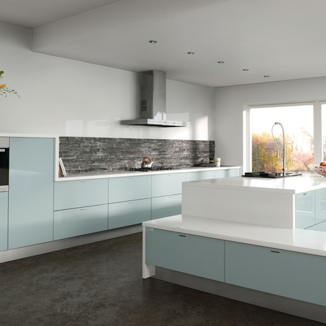 Metallic Blue Kitchen