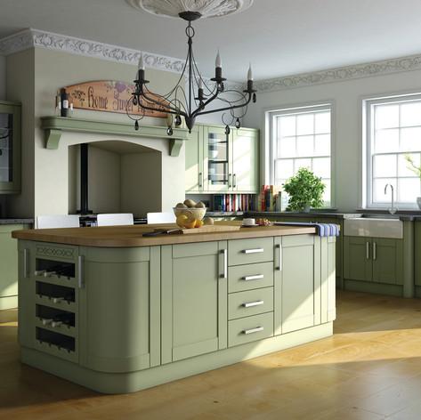 Paintable Garden Green Shaker Kitchen