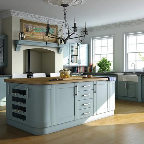 Paintable Tropez Blue Shaker Kitchen