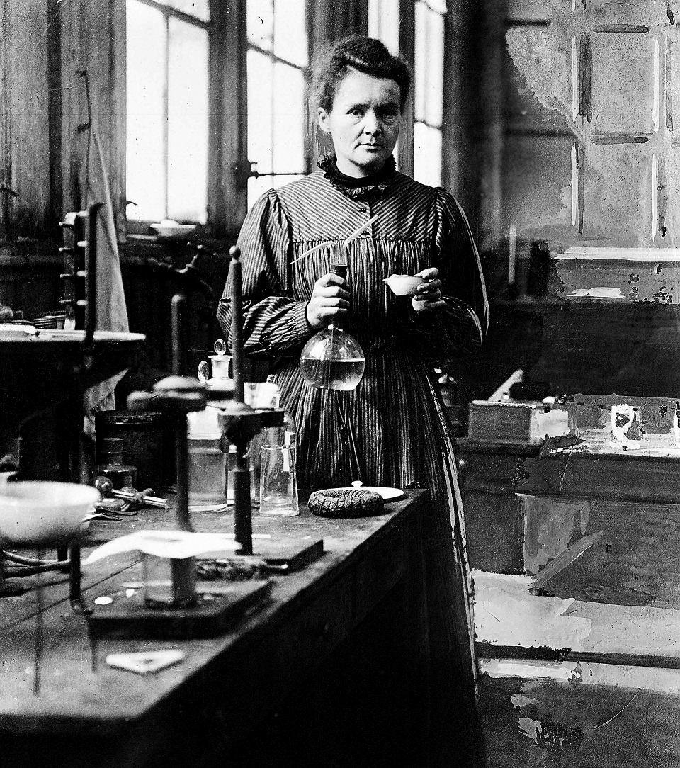 Maria Curie Sklodowka in laboratory