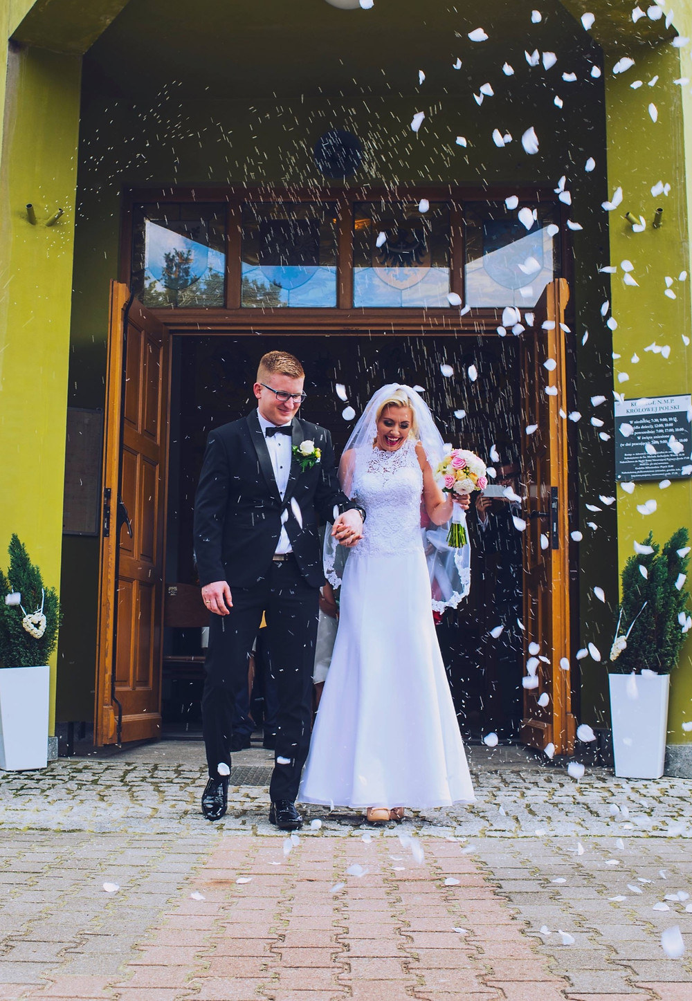Polish wedding in front of church