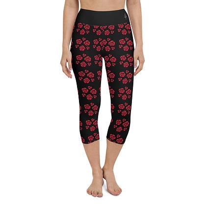 Rose Yoga Capri Leggings