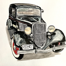 """1933 Ford 11x14"""" Gouache and Ink Painting 2021"""