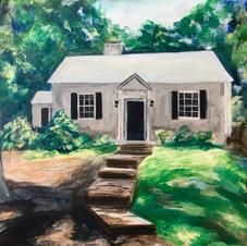 "Charlottesville Grey House 8x10"" Acrylic Painting on Canvas"