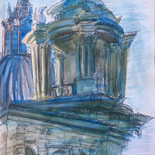 """Sant'Agnese in Agone (Rome, Italy) 8x10"""" Watercolor and pencil 2019"""