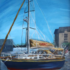 "Tayac Princess of Sailboats 20x16"" Acrylic Painting on Canvas 2020"
